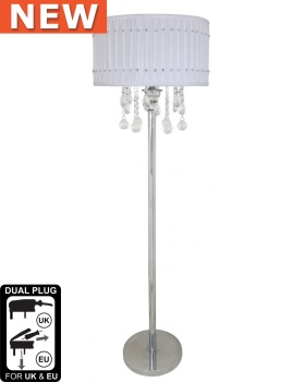 Versailles Chrome Floor Lamp with White pleated Shade with Crystal cut Glass Droplets