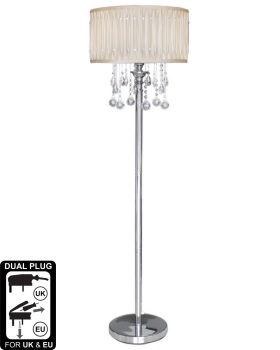 Versailles Chrome Floor Lamp with Cream pleated Shade with Crystal cut Glass Droplets