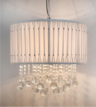 Versailles White Ceiling Shade with Crystal cut Glass Droplets