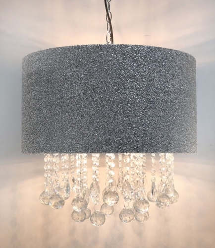 Versailles Silver Glitter Ceiling Shade With Crystal Cut Glass Droplets