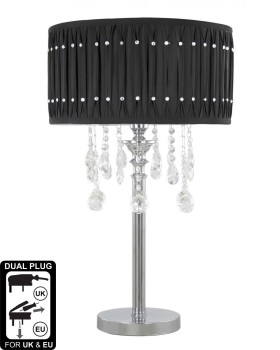 Versailles Chrome Table Lamp with Black pleated Shade with Crystal cut Glass Droplets