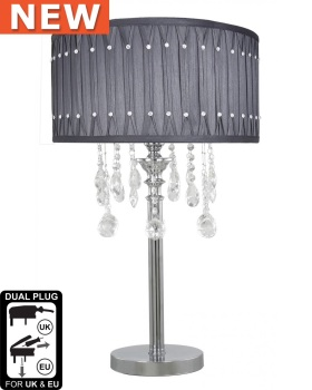 Versailles Chrome Table Lamp with Grey pleated Shade with Crystal cut Glass Droplets