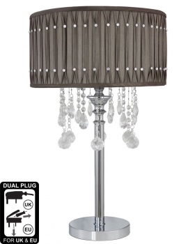Versailles Chrome Table Lamp with Taupe  pleated Shade with Crystal cut Glass Droplets