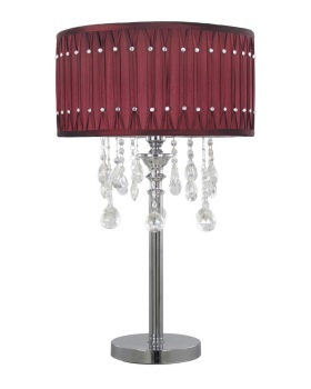 Versailles Chrome Table Lamp with Velvet Red pleated Shade with Crystal cut Glass Droplets