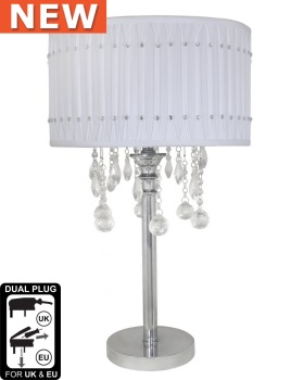 Versailles Chrome Table Lamp with White pleated Shade with Crystal cut Glass Droplets
