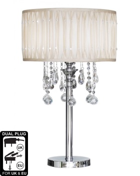 Versailles Chrome Table Lamp with Cream pleated Shade with Crystal cut Glass Droplets