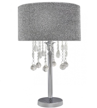 Versailles Chrome Table Lamp with Silver glitter Shade with Crystal cut Glass Droplets