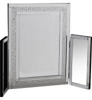 Mosaic Crystal Silver Border Tri Fold Dressing Table Mirror