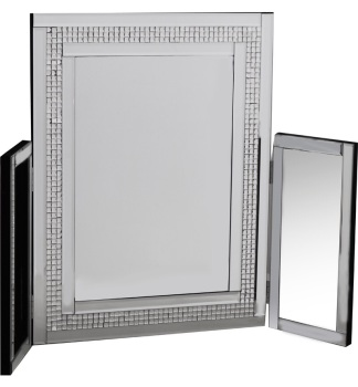 Mosaic Crystal Silver Border Tri Fold Dressing Table Mirror