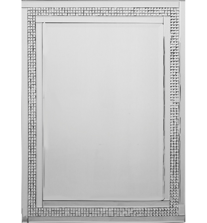 Mosaic Crystal Silver Border Wall Mirror 60cm x 80cm