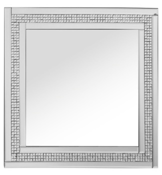 Mosaic Crystal Silver Border Wall Mirror 60cm  x 60cm