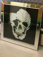"Floating Crystals ""Skull"" Decor on Black Gloss & Silver Bevelled Mirrored Frame 70cm x 70cm"