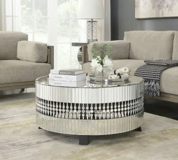 Crystal Teardrop Mirrored Coffee Table