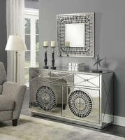 Crystal Teardrop Mirrored 3 Draw 4 Door Large Sideboard