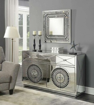 Crystal Mirrored 3 Draw 4 Door Large Sideboard
