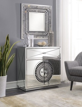 Crystal Teardrop Mirrored 1 Draw 2 Door Mirrored Sideboard