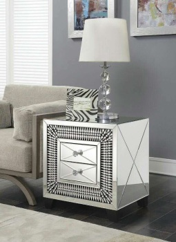 Crystal Teardrop Mirrored 2 Draw Bedside Chest of Draws