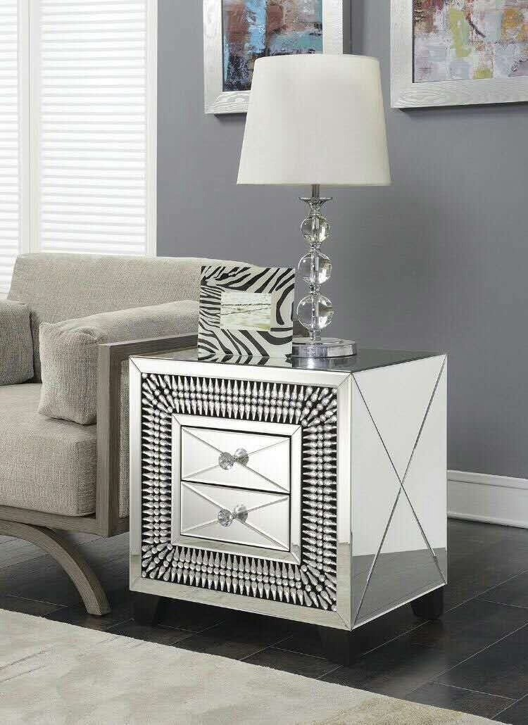 2 Draw Mirrored Crystal Bedside Chest of Draws