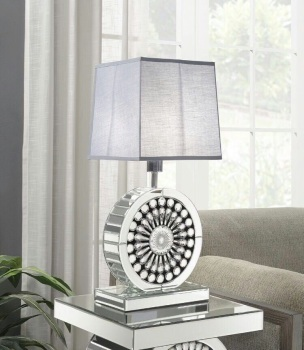 Crystal Mirrored Table Lamp with Grey Shade