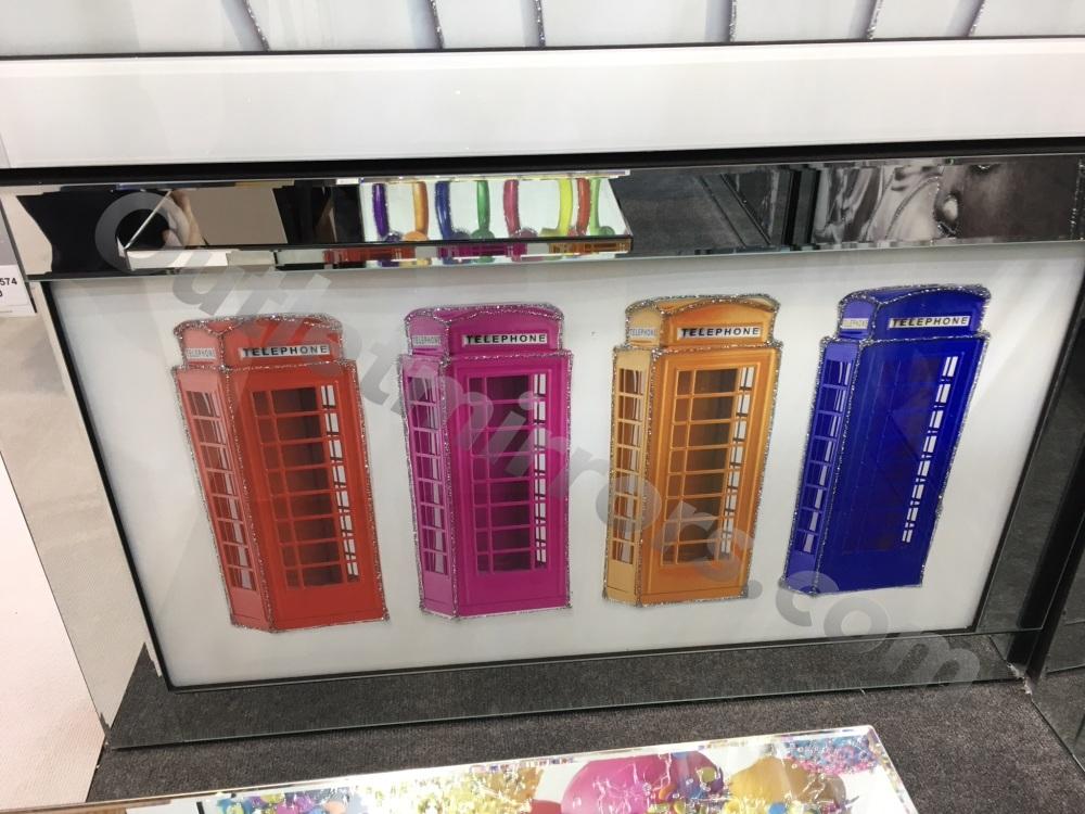 Mirror framed art print Colourful London Phone Boxes100cm x 60cm