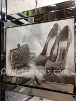 "Mirror framed art print ""Sparkle Shoes & Handbag  95cm x 75cm  in stock for a quick delivery"