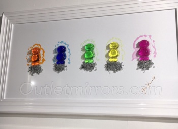 Jake Johnson 3D colourful Jelly Babies wall art on a white gloss background white stepped frame