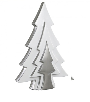 Xmas Tree Shape Silver / White Decor