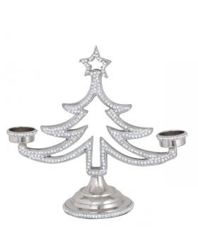 Xmas Tree crystal jewel Tea Light Holder  2 branch