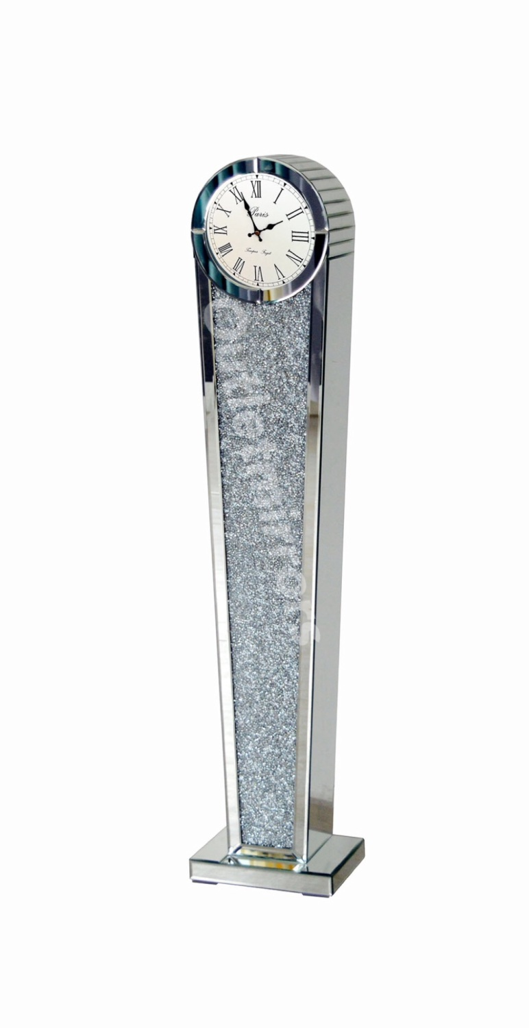 *** New Mirrored Diamond Crush Floor Standing Oval Top Clock