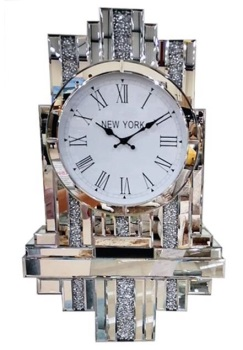 *** New Mirrored Diamond Crush Art Deco Manhatten clock with Shelve
