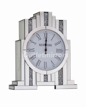 *** New Mirrored Diamond Crush Art Deco Manhatten clock without Shelve