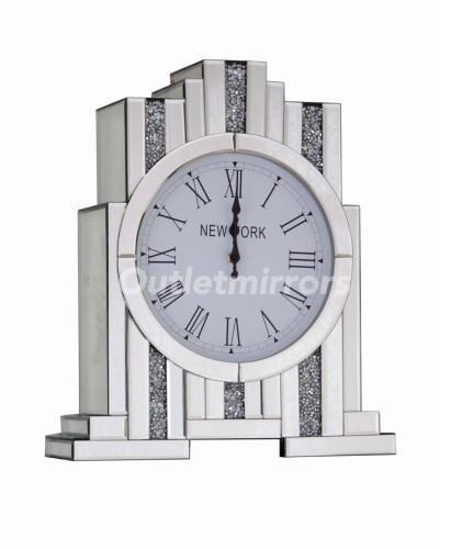 *** New Mirrored Diamond Crush Art Deco Manhatten clock without Shelve