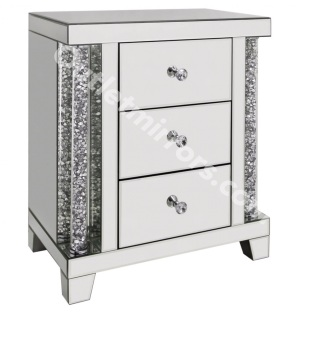 * New Diamond Crush Crystal Pillar Mirrored 3 draw Bedside Chest