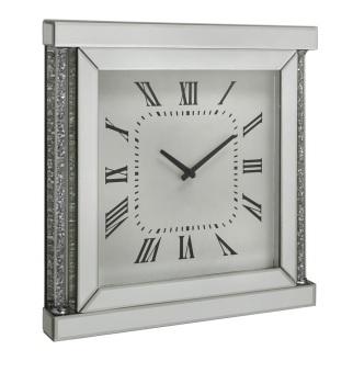 Diamond Crush Sparkle crystal Pillar Mirrored wall Clock 50cm x 50cm