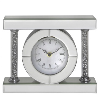 * New Diamond Crush Sparkle Crystal Mirrored Pillar Oval Mantle Clock item in stock