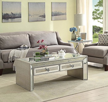 Sofia Mirrored 2 Draw Coffee Table