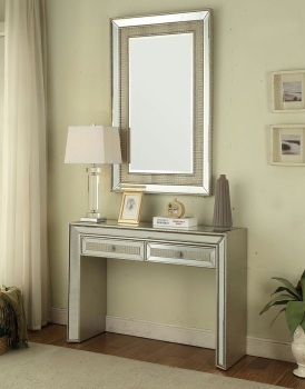 Sofia Mirrored 2 Draw Console Table & Mirror