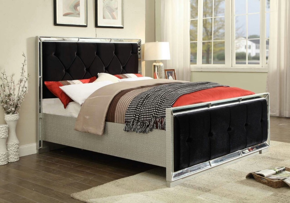 Sofia Mirrored 5ft Bed with Velvet Black Fabric Headboard