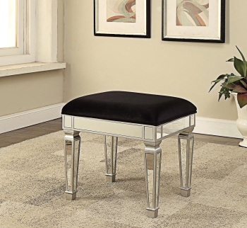 Sofia Mirrored Stool in black velvet