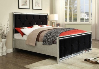 Sofia Mirrored 4ft 6 Bed with Velvet Black Fabric Headboard