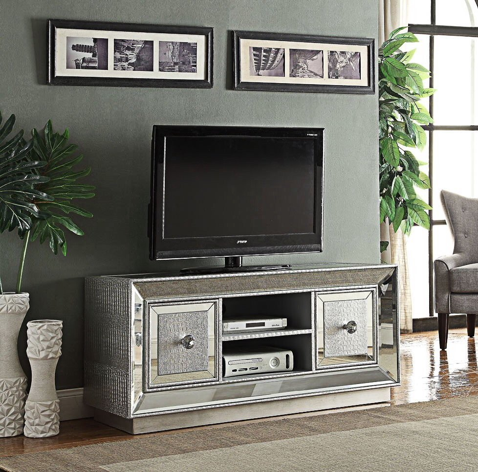 Sofia Mirrored 2 Door Tv Entertainment Unit to fit 55