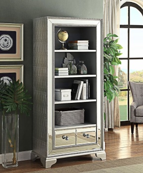 Sofia Mirrored Large Bookcase with 2 draw storage