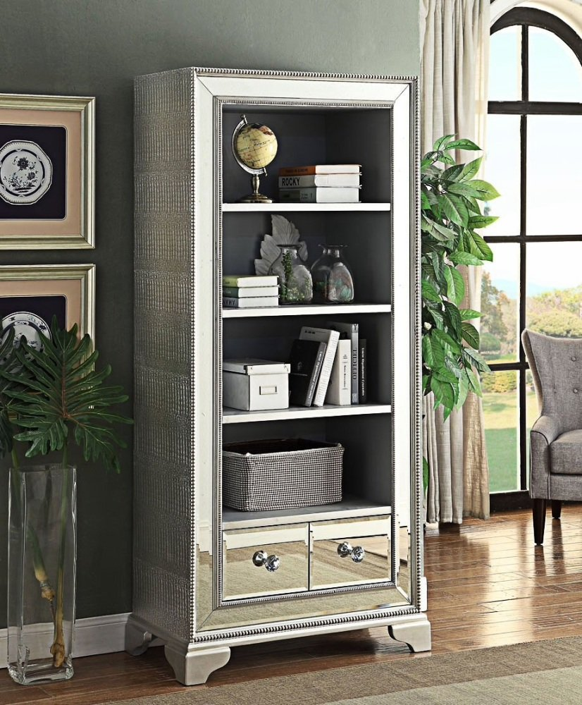 Sofia Mirrored Large Bookcase with 2 door storage