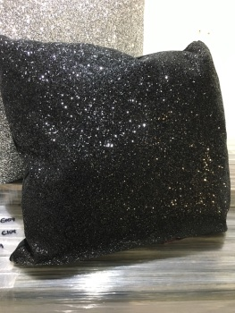 Black Sparkle Glitter Cushion 45cm x 45cm