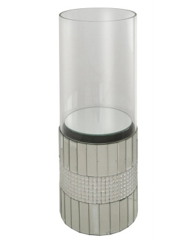 Floor standing Crystal Border Mirrored cylinder Candle Holder