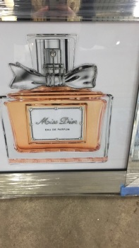 "Mirror framed Sparkle Glitter Art ""Miss Dior Perfume 3"""