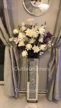 * New Diamond Crush Sparkle Crystal Mirrored Vase 89cm item in stock