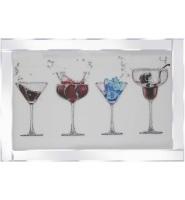 Mirror framed art print Colourful Cocktails 2 100cm x 60cm