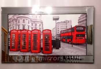 "Mirror framed art print ""Londons Old Red Telephone boxes"""