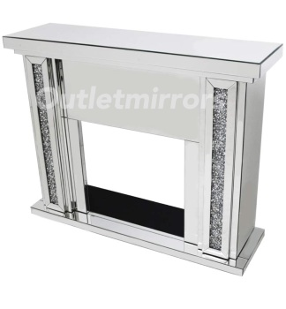 Diamond Crush Sparkle Mirrored Fire Surround  in stock for a fast delivery